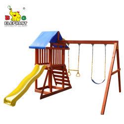 ملعب للأطفال في الهواء الطلق معدات أرجوحة مع منزلقة للأطفال