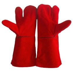 Haltbare Qualitätsrote lederne Grill-Küche verstärkter Griff-Rindleder-aufgeteilter lederne Handschuh-Handschuh