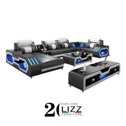 Functionele LED Europese moderne Leisure woonkamer Home meubels Houten Sectionele u-vorm Genuine Leather Sofa Couch Set met TV Standaard en koffietafel