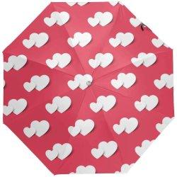 Custom Love Heart Red Anti Sun UV pieghevole da viaggio compatto Ombrello