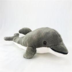 Grijs Pluche Gevuld het Kauwen van de Hond van het Puppy Dophin Stuk speelgoed