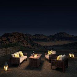 Patio-Möbel-Rattan Setional Sofa-im Freiengarten-Sets mit Aluminiumfeuer-Vertiefung