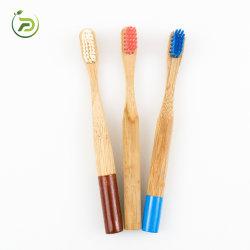100% قابل للتحلل البيولوجي ومقبض مريح مريح ومقبض فرشاة أسنان من نوع Bamboo مع مقبض مستدير للأطفال