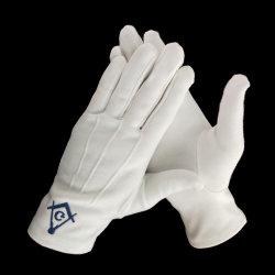 Freimaurerklinge-einfaches blaues Firmenzeichen-Militärparade-Weiß-Handschuhe