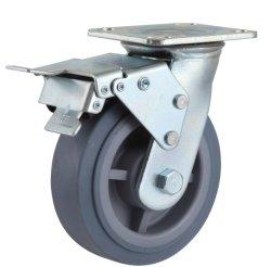 عجلات عجلات مقاس TPR الصناعية للخدمة الشاقة فرامل مزدوجة دوارة