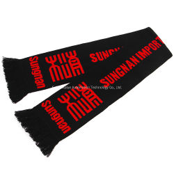 O logotipo personalizado bordados de acrílico ou Imprimir ou lenço de ventilador de futebol de futebol Jacquard, Promocional Personalizar Sports lenço de futebol de malha