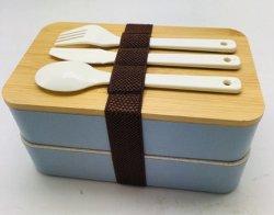 최고 셀러 음식 등급 2 층 섬유 대나무 점심 상자 수저 세트 포함