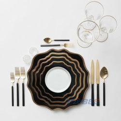 Paibee handgemachte keramische Großhandelsplatten verurteilen Porzellan-großen Teller gesetzte Hochzeit keramische Platte