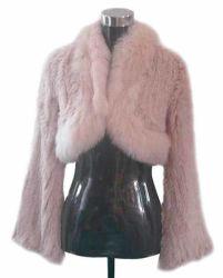 Cappotto lavorato a maglia pelliccia del coniglio con il collare della pelliccia di Fox (ODC0710)