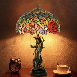 16 pollici San Bronzo scultura Art Deco per salotto Lampada da tavolo Tiffany Camera da Letto
