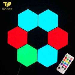 La decoración del hogar 2020 Crecer la luz LED de bricolaje Quantum Panal Hexagonal hexagonal modular las lámparas de luz toque sensible iluminación con control remoto