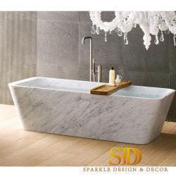 Forma Retangular banheira em mármore branco Carrara italiano ideias para decoração de banheiro Master