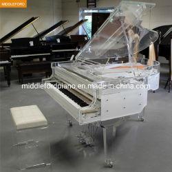 水晶ピアノベンチが付いている160cmの長さのゆとりのアクリルのグランドピアノ