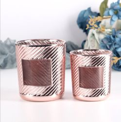 Decoração de vidro de cor dourada Rose Electroplated Candle Jar suporte para velas