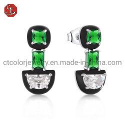 مبيعات ساخنة 925 مجوهرات فضة حلي بنحاس الأسود المينا مجوهرات الحارنات الخضراء للنساء