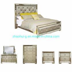 Zhaohui reflejado y Tufted King-Size tapizados juego de dormitorio