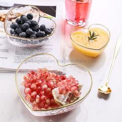 550ml Kom van de Fruitsalade van het Glas van het Kristal van het hart de Duidelijke met Gouden Rand voor de Decoratie van het Huwelijk