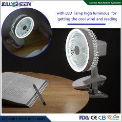 Clipe de venda quente ou Turismo Portable Mini Ventilador com agitar e levou a função da luz nocturna, branco ou azul escuro para a opção de alojamento