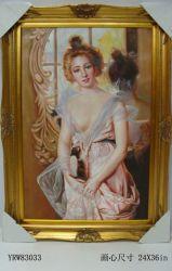 Het klassieke Portret van de Vrouw van Olieverfschilderij