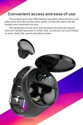 Nieuwste Ai Smartwatch met Horloge van Samrt van de Sport van de Manchet van de Monitor van de Bloeddruk van het Tarief van het Hart van de Hoofdtelefoon Bluetooth Het Slimme Oude Reserve