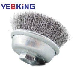Torsade coupe le fil sertis Brosse brosse métallique en acier rotatif pour meuleuse d'angle de l'industrie nettoyer et polir la surface métallique