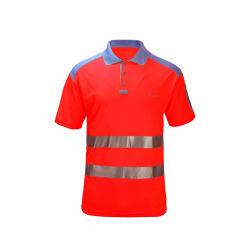 고가시성 남성용 작업복 건설 교통 노란색 주황색 반사 안전 폴로 셔츠 남성용 셔츠