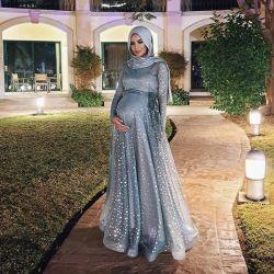 Мусульманские Sequin длинной втулки беременных вечерние платья