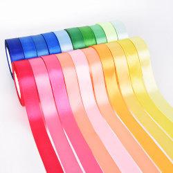 Cinta de satén decorativo de poliéster personalizadas de una sola cara para prenda DIY envolver para regalo Ribbon