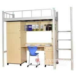 Moderner Entwurfs-Qualitäts-Schule-Kursteilnehmer-Schlafsaal-Hotel-Metallkoje-Bett mit Computer-Schreibtisch und Schrank
