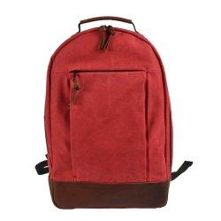 Diseño de Moda mochila de lona impermeable cremallera Ykk de cuero mochila portátil de viaje a los golpes (RS200607)