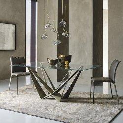 طاولة فاخرة لتناول الطعام من الزجاج من الفولاذ المقاوم للصدأ للمنزل