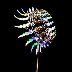 Iluminação abstracto moderno em aço inoxidável de metal cata-vento escultura cinética do rotor do vento para o pátio com jardim mostrar