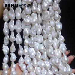 14-16mm AAA Qualitäts-weiße natürliche kultivierte kernhaltige barocke Perlen-Frischwasserzeichenketten (XL190006)