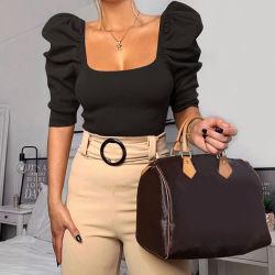 여자의 블라우스 섹시한 정연한 고리 퍼프 소매 형식 사나운 셔츠