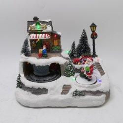 Ornamenti caldi su ordine del villaggio di natale di Polyresin del nuovo prodotto di vendita