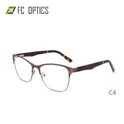 Forma Retangular cheia de metal da dobradiça da mola da RIM Flex Templo de bambu madeira madeira moderno design moderno do Olho de Gato Armações de óculos óculos óptica on-line