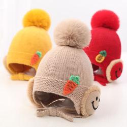 귀여운 카툰 베이비 모자 겨울 크리스마스 니트 키즈 모자 따뜻함 유아 아기 소녀 모자 보호 어린이 비니 본