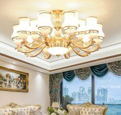 Mode bougie lustre de Cristal Pendentif voyant lampe avec abat-jour de Verre pour Villa Zf-Cl-005