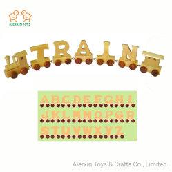 문 및 가정 Decroation에 아이의 이름에 사용되는 단단한 나무로 만드는 나무로 되는 장난감 평야 트레인 알파벳 & 편지