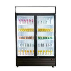 1000L両開きドアの冷やされていたショーケースの飲み物および飲料のクーラーのガラスドアのマーチャンダイザー