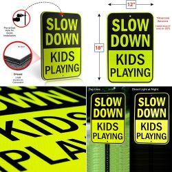 Fabrikant Slow Down kinderen spelen Aluminium Reflective Traffic Warning Safety Bord met verkeersborden