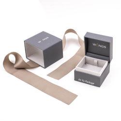 Doos van de Verpakking van de Juwelen van de Gift van de Kleur van de Scharnier van de luxe de Met de hand gemaakte Elegante Plastic Grijze
