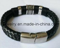 Nova Moda 316 bracelete de couro de aço inoxidável com abraçadeira metálica