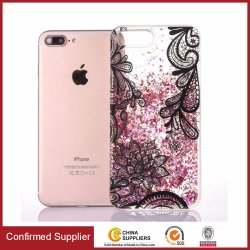 Heart Liquid Quicksand Bling Lace Flower Design Flexibele Tpu-Tas