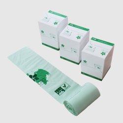 Custom PLA Pbat Amidon de maïs et de sacs poubelle Compostabel biodégradables sur le rouleau du PEHD en PEBD sac poubelle en plastique pour le ménage