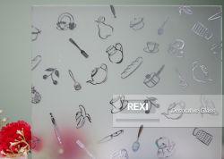 Certification CE de l'acide gravé, laqué, verre décoratif à motifs