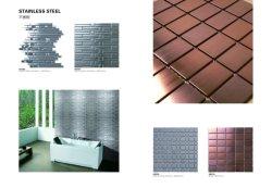Azulejo de parede de mosaico de aço inoxidável de ouro
