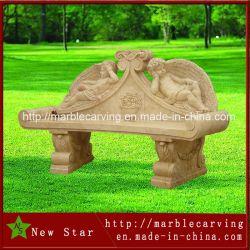 La sculpture en marbre crème beige Angel bancs NSB030