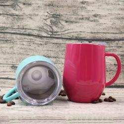 Los productos más vendidos doble pared tazas de café con asas de acero inoxidable beber taza taza de café con soporte de metal