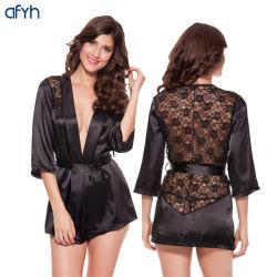 Hot Lingerie Sexy Plus la taille de la dentelle noir satin Kimono Vêtements de nuit intime robe sexy robe de nuit des femmes sexy de lingerie érotique